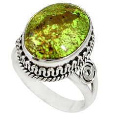 Natural green gaspeite 925 sterling silver solitaire ring size 8.5 d17076