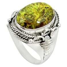 Natural green gaspeite 925 sterling silver solitaire ring size 9.5 d17078