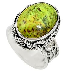 Natural green gaspeite 925 sterling silver solitaire ring size 7.5 d17079