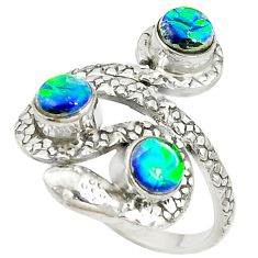 925 sterling silver multi color dichroic glass snake ring jewelry size 9 d17091