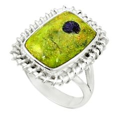Green atlantisite (tasmanite) stichtite-serpentine 925 silver ring size 7 d1715