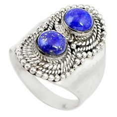 Clearance Sale- Natural blue lapis lazuli round 925 sterling silver ring size 8.5 d17176