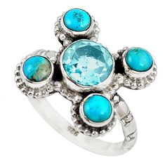 Clearance Sale- 925 silver natural blue topaz sleeping beauty turquoise ring size 7.5 d18400
