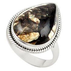 Natural golden seraphinite (russian) 925 silver ring jewelry size 9 d18859