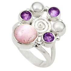 Natural pink kunzite amethyst pearl 925 sterling silver ring size 6 d18875