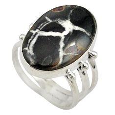 Natural black septarian gonads 925 sterling silver ring size 8.5 d18957