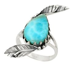 Natural blue larimar pear 925 sterling silver ring jewelry size 7.5 d19041