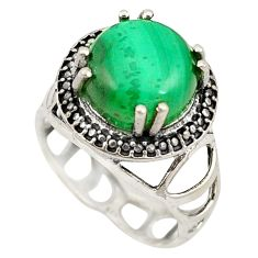 Clearance Sale- Natural green malachite (pilot's stone) 925 silver ring jewelry size 7 d20716