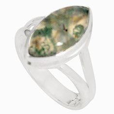 Natural green moss agate 925 sterling silver ring jewelry size 8 d20890