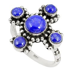 925 sterling silver natural blue lapis lazuli round ring jewelry size 7.5 d22788