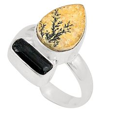 925 silver natural multi color germany psilomelane dendrite ring size 7 d23845