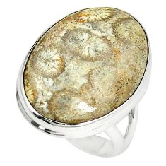 Natural fossil coral (agatized) petoskey stone 925 silver ring size 6.5 d23887