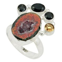 Natural brown geode druzy onyx 925 sterling silver ring jewelry size 8 d24946