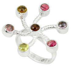 Clearance Sale- 925 sterling silver natural multi color tourmaline ring size 7 d4324