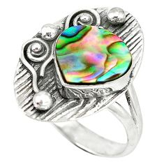 Clearance Sale- Natural green abalone paua seashell 925 sterling silver ring size 9 d4357