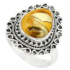 Natural brecciated mookaite (australian jasper) 925 silver ring size 9 d4470