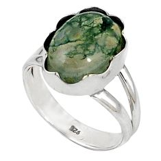 Natural green moss agate 925 sterling silver ring jewelry size 7.5 d5520