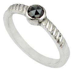 Clearance Sale- 0.27cts natural black diamond 925 sterling silver ring jewelry size 9 d5649