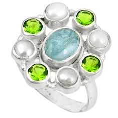 Clearance Sale- amarine pearl peridot 925 sterling silver ring size 8 d6039