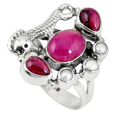 Natural pink ruby zoisite garnet 925 silver seahorse ring size 8 d7903