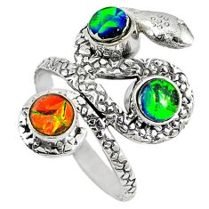 Multi color dichroic glass 925 sterling silver snake ring jewelry size 7.5 d7918