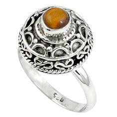 Clearance Sale- Natural brown tiger's eye 925 sterling silver ring jewelry size 8 d8087