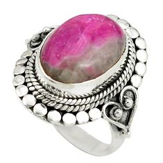 Natural pink ruby in fuchsite 925 sterling silver ring jewelry size 8 d8917