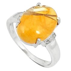 Natural diamond yellow brecciated mookaite 925 silver ring size 7.5 d8978