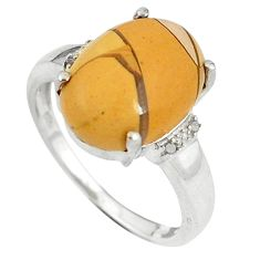 925 silver natural diamond yellow brecciated mookaite oval ring size 7 d8980