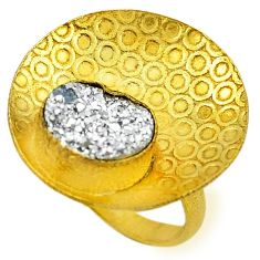 Silver druzy 14k gold over brass ring jewelry size 6 f1565