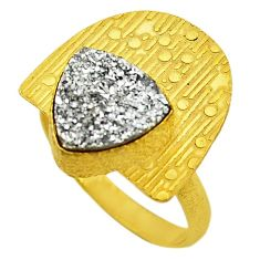 Silver druzy 14k gold over brass ring jewelry size 8 f1571