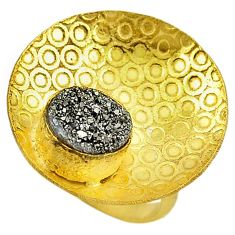 Silver druzy round shape 14k gold over brass ring jewelry size 6 f1626