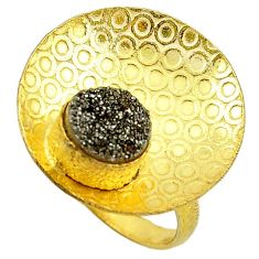 Silver druzy 14k gold over brass ring jewelry size 8 f1839