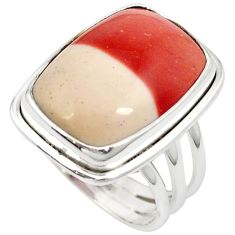 Natural brown mookaite octagon 925 sterling silver ring jewelry size 7.5 j20332