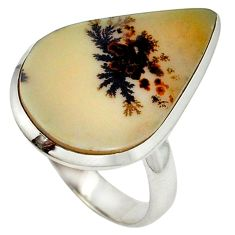 Natural scenic russian dendritic agate 925 sterling silver ring size 7.5 j23699