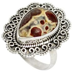Natural brown septarian gonads 925 sterling silver solitaire ring size 8 j23908