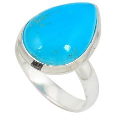 Natural blue smithsonite pear cab 925 sterling silver ring jewelry size 6 j23937