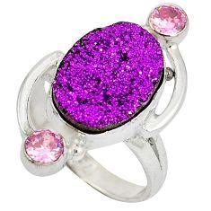 Purple druzy kunzite (lab) 925 sterling silver ring jewelry size 6.5 j23942