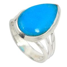 Blue smithsonite 925 sterling silver solitaire ring jewelry size 7 j23965