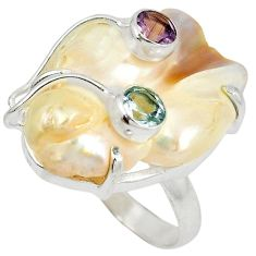 Natural white mother of pearl amethyst topaz 925 silver ring size 9 j24053