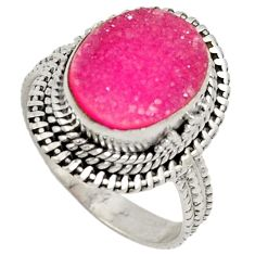Pink druzy 925 sterling silver solitaire ring jewelry size 7.5 j27384