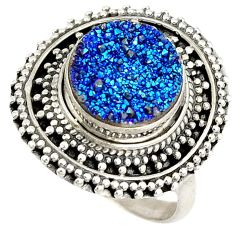Blue titanium druzy 925 sterling silver solitaire ring jewelry size 7 j27485