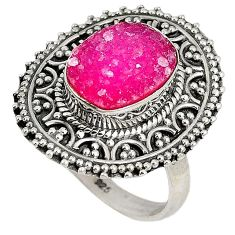 4.37cts pink druzy oval shape 925 sterling silver ring jewelry size 7 j27527