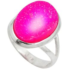 Pink druzy oval shape 925 sterling silver solitaire ring jewelry size 7 j27571