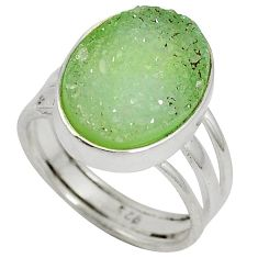 10.37cts green druzy oval shape 925 sterling silver ring jewelry size 7.5 j27575