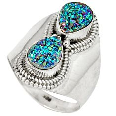 Multi color titanium druzy 925 sterling silver ring jewelry size 6.5 j30121