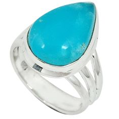9.16cts blue smithsonite pear cab 925 sterling silver ring jewelry size 6 j34268