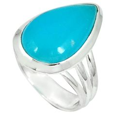 Blue smithsonite 925 sterling silver solitaire ring jewelry size 7 j34269