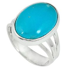6.20cts blue smithsonite oval cab 925 sterling silver ring jewelry size 7 j34282