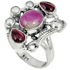 Natural pink ruby in fuchsite garnet 925 silver seahorse ring size 7 j34404